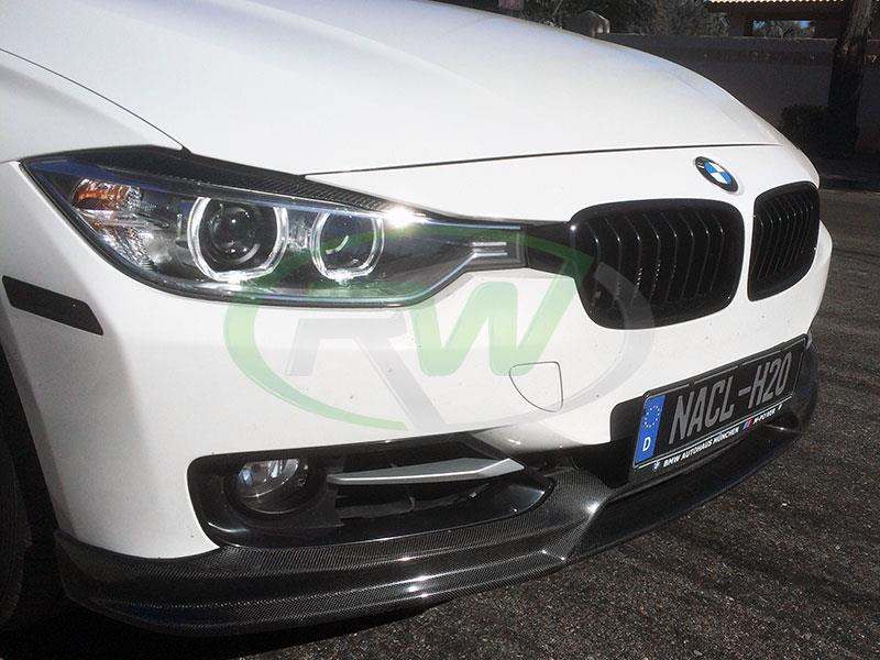 The RW Carbon 3D Style Carbon Fiber Lip for F30 fits 328i 328d and 335i Sportlines.