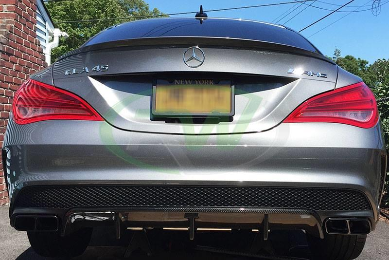 RW Carbon CLA carbon fiber diffuser installed on C117 CLA45 AMG