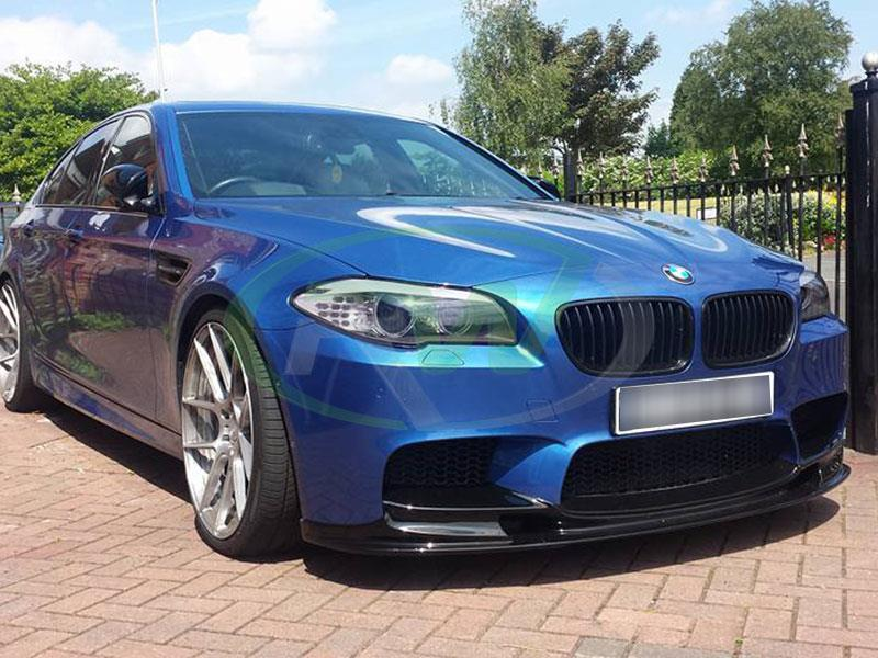 BMW F10 M5 in blue with an RW 3D Style Carbon Fiber Front Spoiler