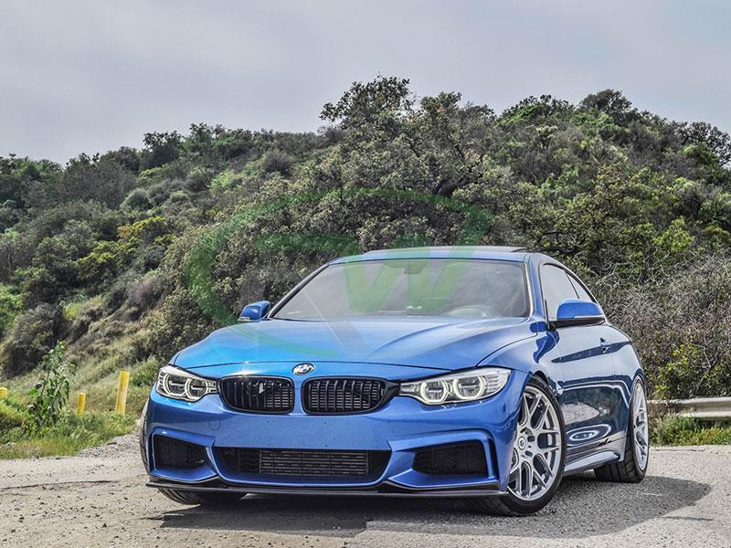 BMW F32 435i in blue with a RW Carbon 3D Style Carbon Fiber Lip