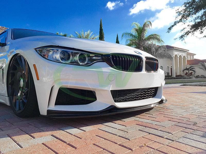BMW F32 4 series in white with an RW 3D Style Carbon Fiber Front Lip
