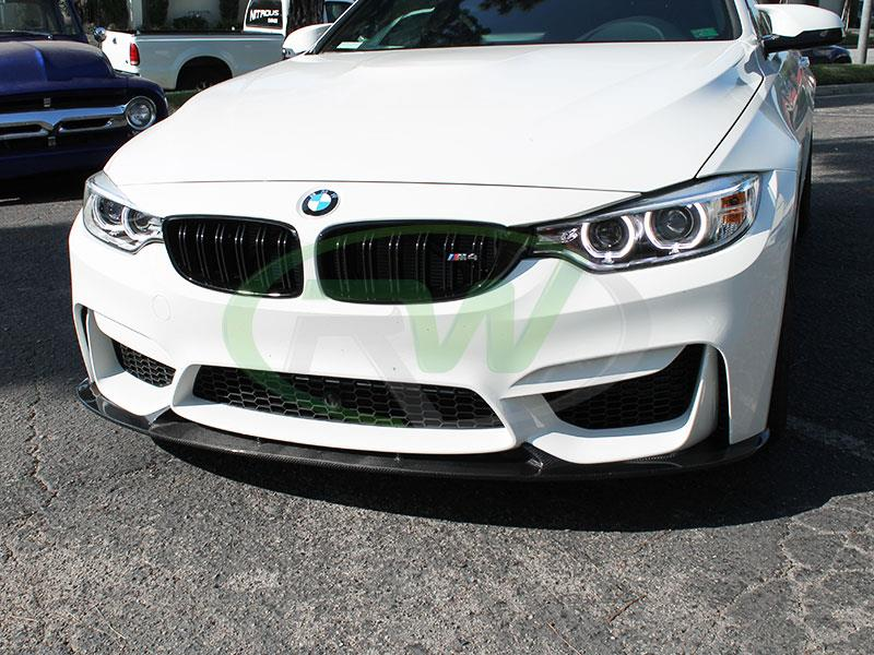 White BMW F82 M4 with an RW 3D Style Carbon Fiber Front Lip