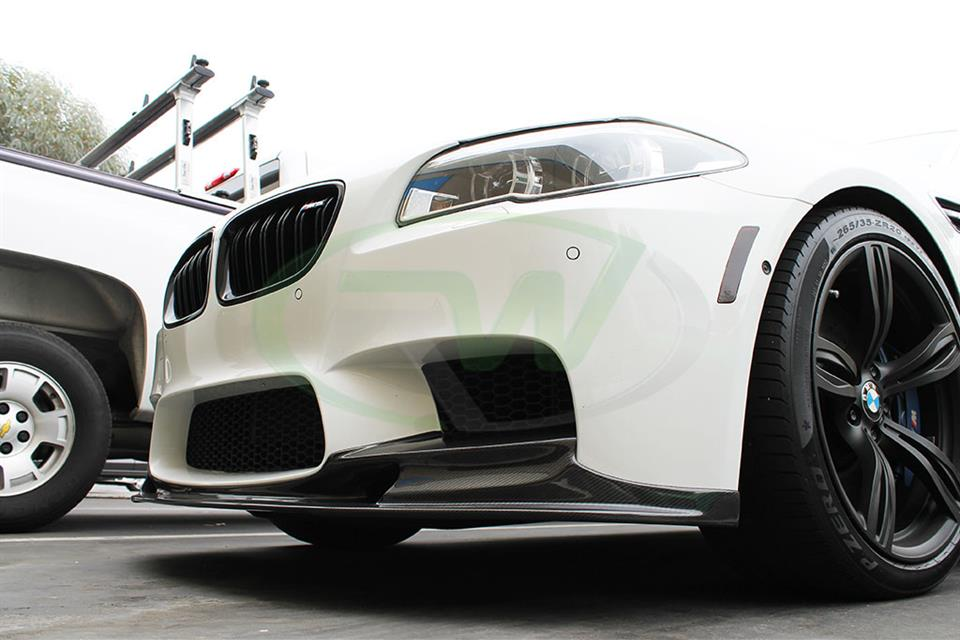 Alpine White BMW F10 M5 3D Style Carbon Fiber Front Spoiler Installed at RW