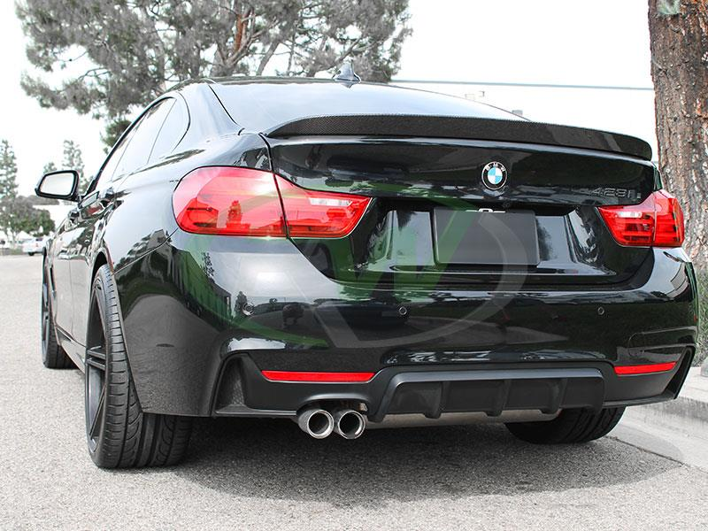 BMW F36 428i in black with an RW 3D Style Carbon Fiber Trunk Spoiler