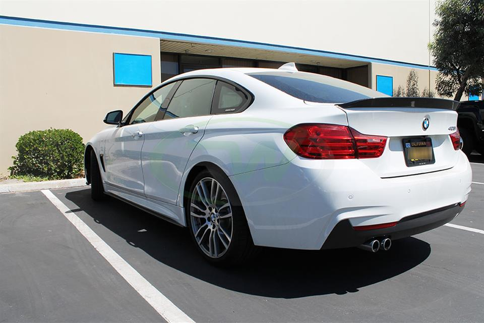 Alpine White BMW F36 428i with RW Carbon Fiber Side Skirt Extensions