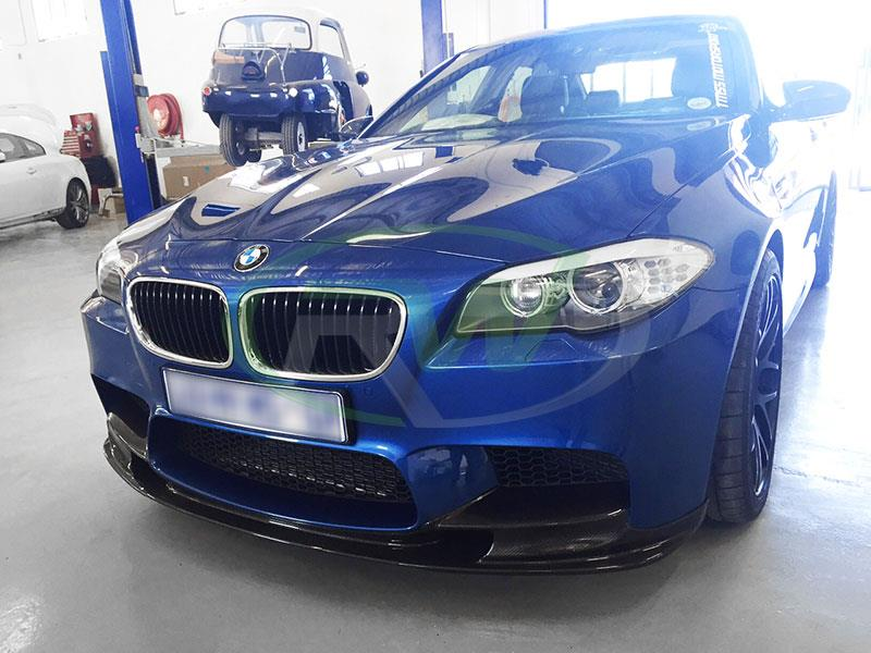 A blue BMW F10 M5 with an RW 3D Style Carbon Fiber Front Lip