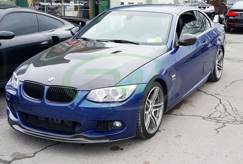 BMW E93 335i in blue with our Arkym Style Carbon Fiber Front Lip