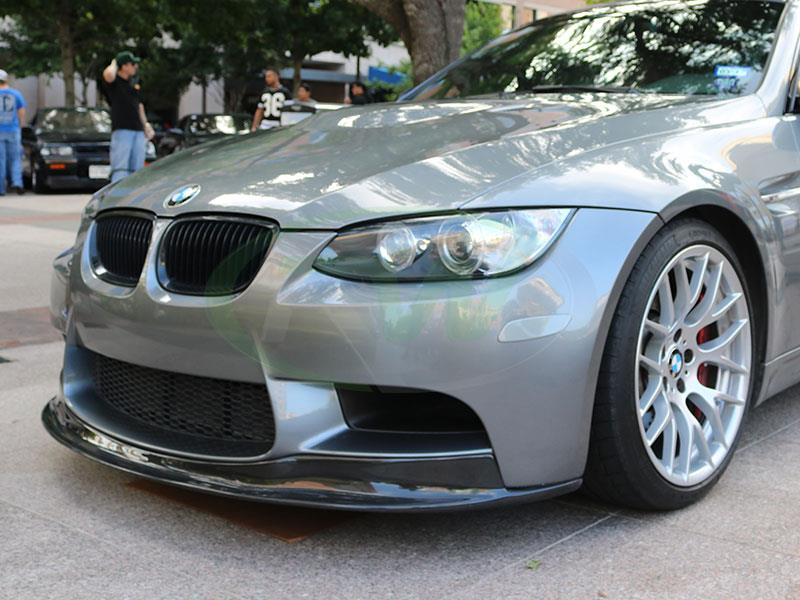 A Grey BMW E92 M3 with the RW Carbon Fiber Arkym Style Front Lip Spoiler