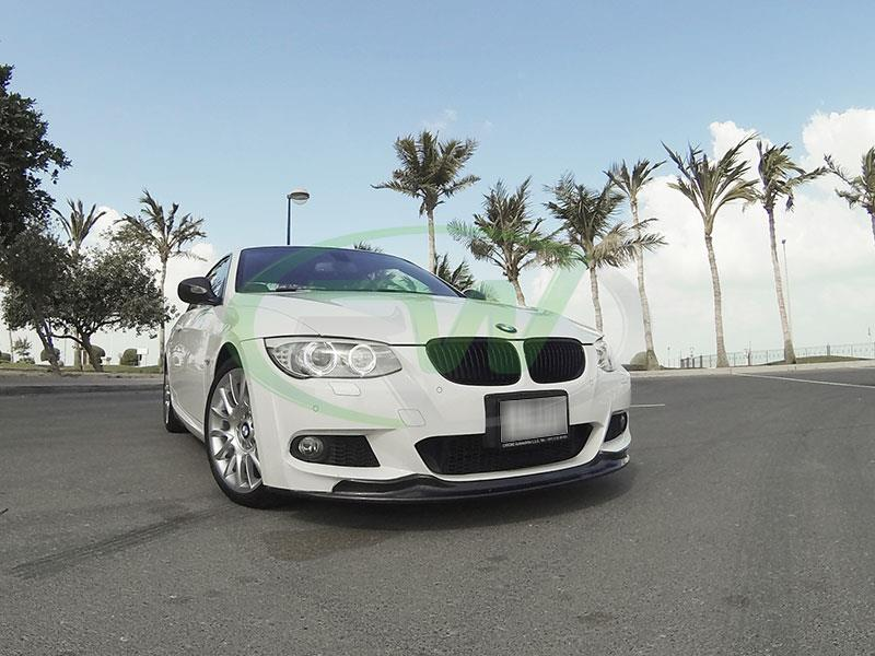 BMW E92 335i LCI with our Arkym Style Carbon Fiber Front Lip