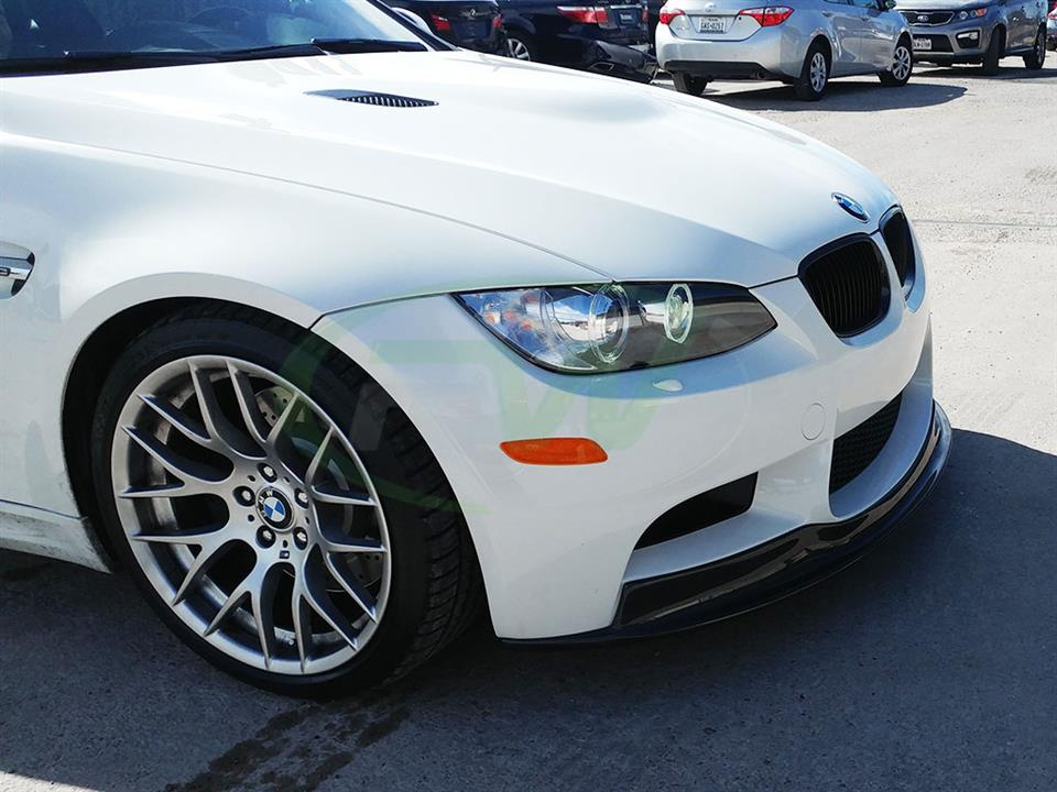 White BMW E92 M3 with the RW Carbon Fiber Arkym Style Front Lip