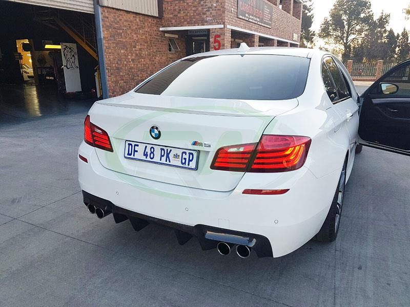 Alpine white BMW F10 M5 with the RW DTM Carbon Fiber Rear Diffuser