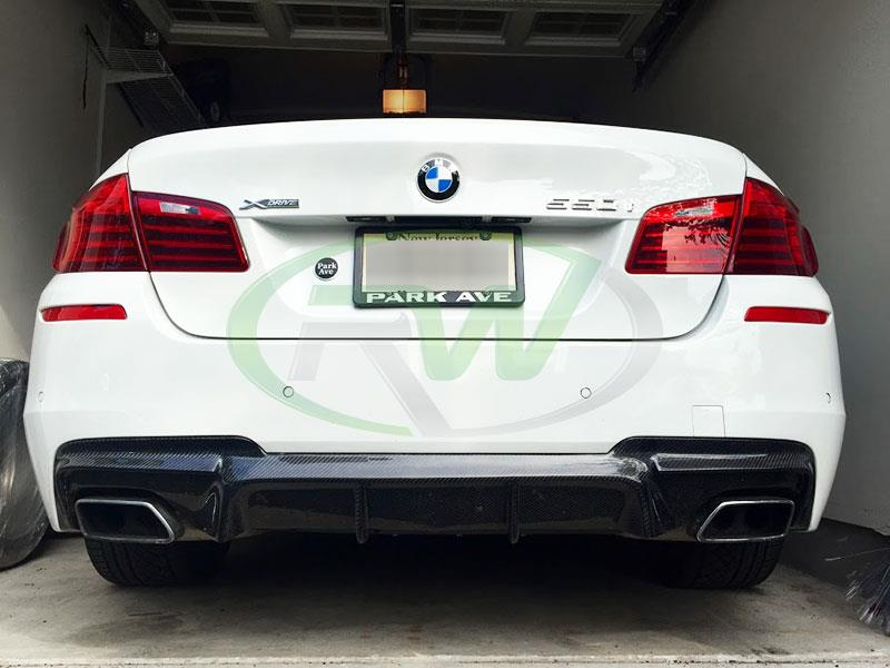 White BMW F10 550i M Sport with RW DTM Carbon Fiber Rear Diffuser
