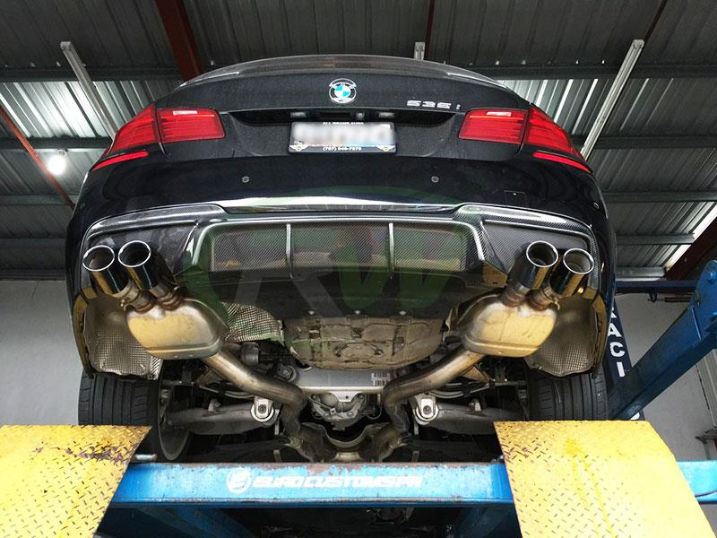 Black BMW F10 550i with a RW DTM Carbon Fiber Rear Diffuser