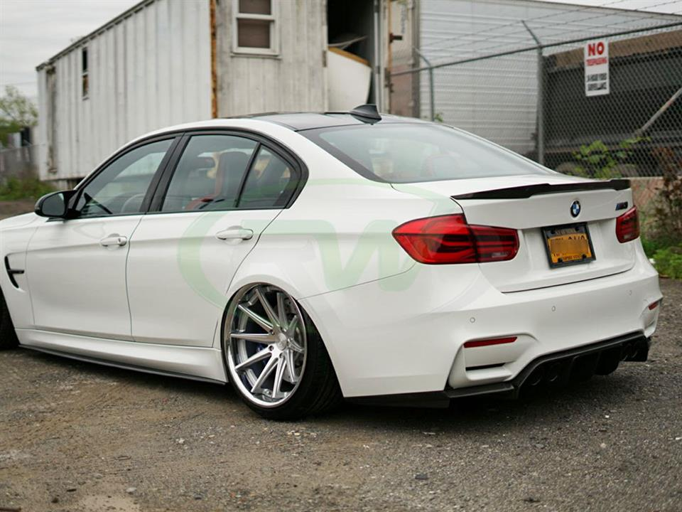 White BMW F80 M3 with an RW M4 Style Carbon Fiber Trunk Spoiler