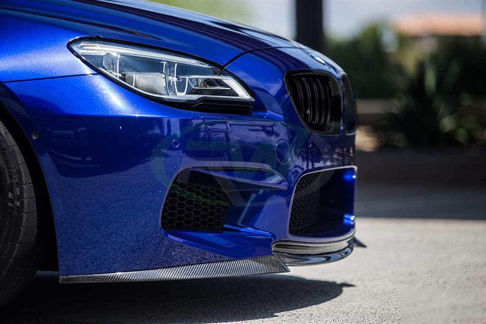 Blue BMW F13 M6 with an RW DTM Carbon Fiber Front Lip Spoiler Installed
