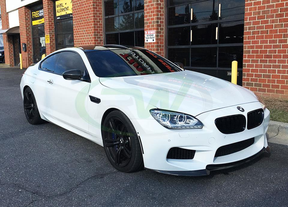 White BMW F13 M6 with an RW DTM Carbon Fiber Front Lip Spoiler