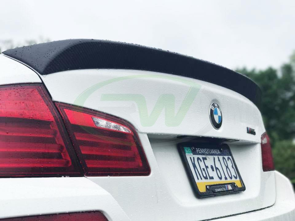 White BMW F10 M5 with an RW DTM Carbon Fiber Trunk Spoiler