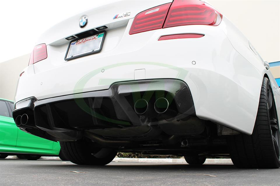 Alpine White BMW F10 M5 DTM Carbon Fiber Rear Diffuser Installed at RW