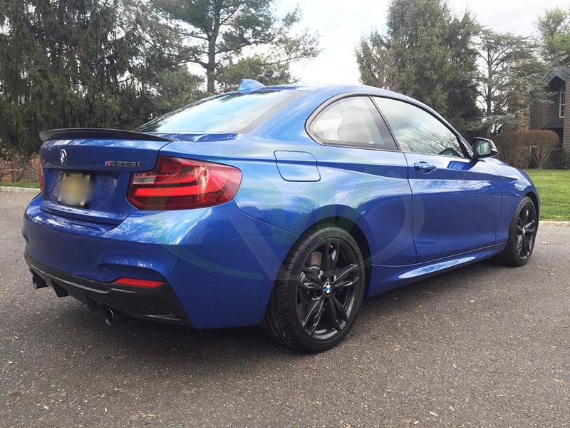 BMW F22 M235 in blue with an RW Exotics Tuning Style Carbon Fiber Diffuser