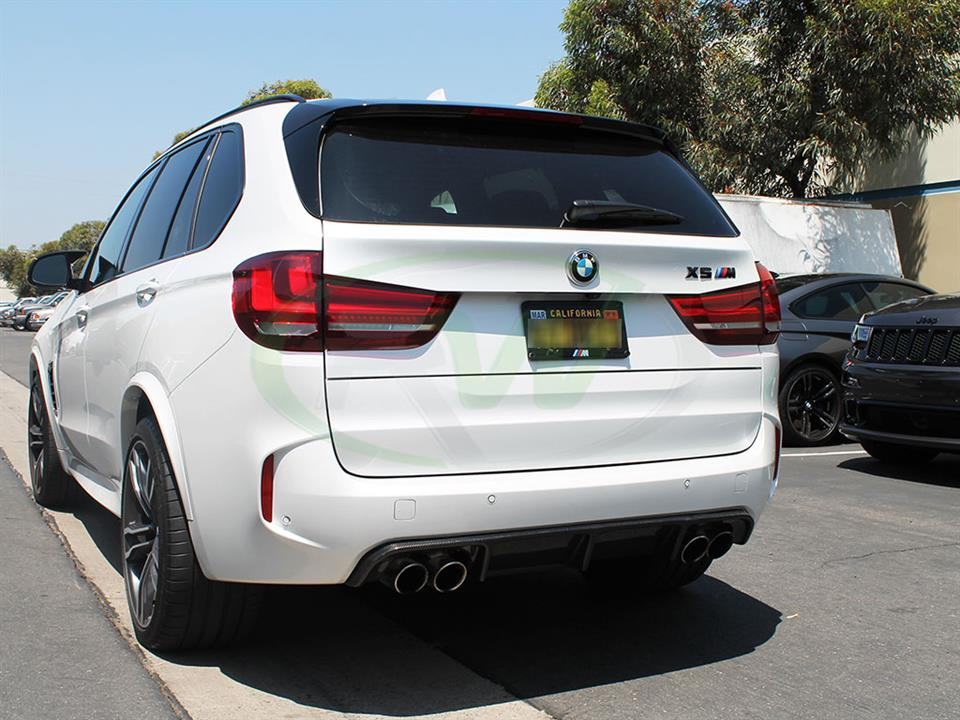 White BMW F85 X5M with the RW Carbon Fiber Diffuser Installed