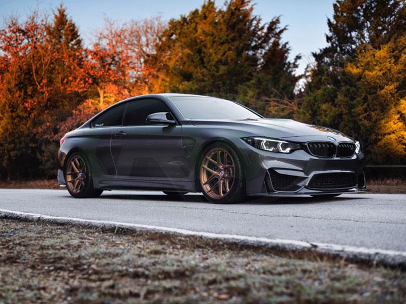 BMW F82 M4 Grey with an RW ENS Style Carbon Fiber Front Lip