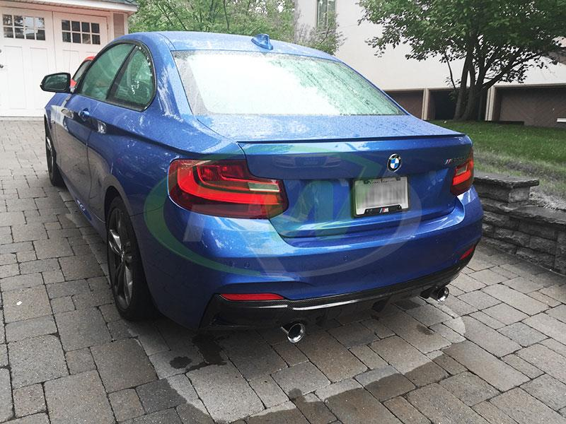 BMW F22 M235 in blue with an RW Exotics Tuning Style CF Diffuser