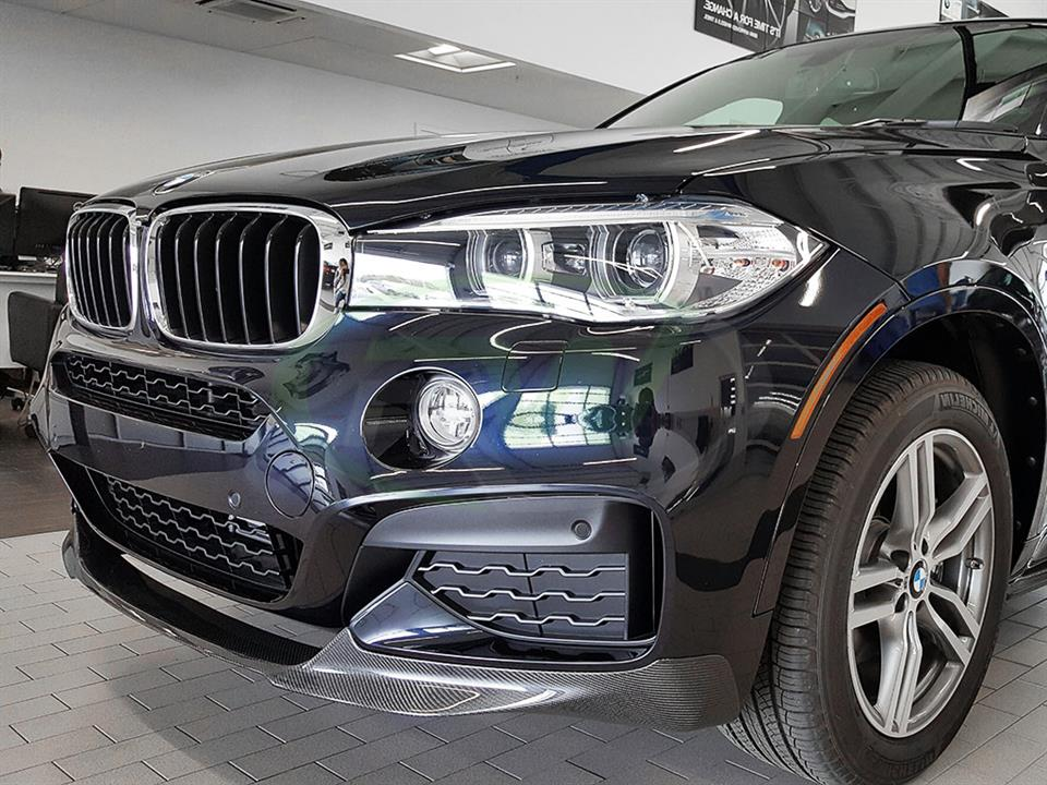 Black BMW F16 X6 M Sport with an RW Carbon Fiber Front Lip Spoiler