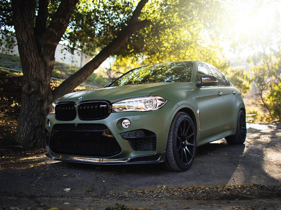 Army Green BMW F86 X6M with the RW Carbon Fiber Front Lip Spoiler