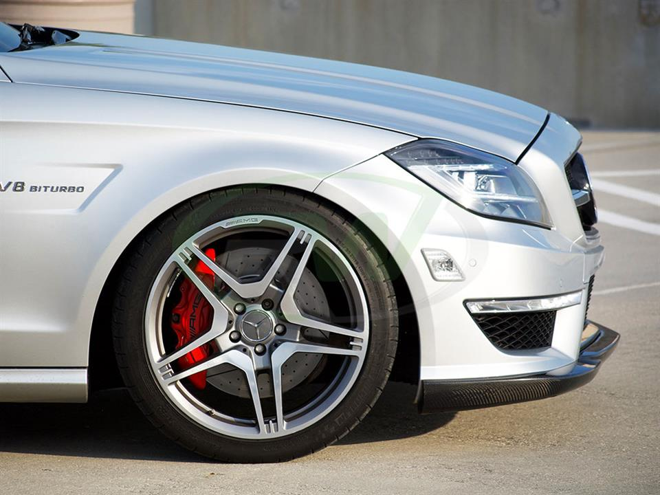 Silver Mercedes W218 CLS63 AMG with an RW Carbon Fiber Front Lip