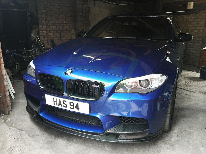 Blue BMW F10 M5 with the RW Carbon 3D Style CF Front Lip Spoiler