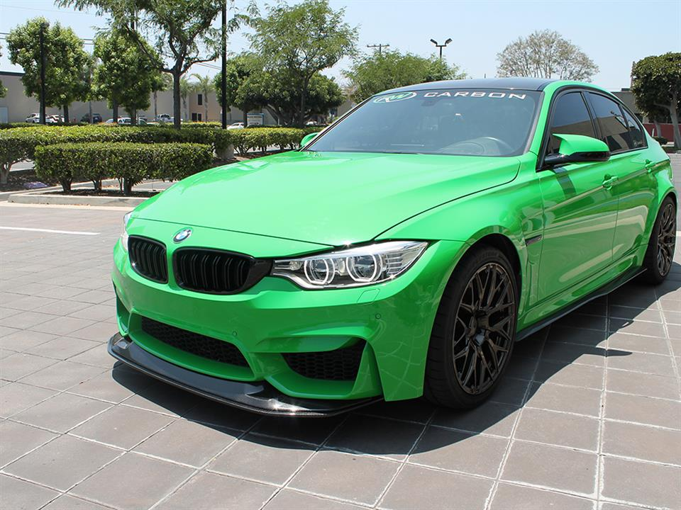 BMW F80 M3 in Signal Green with a RW GTS Style CF Front Lip Spoiler