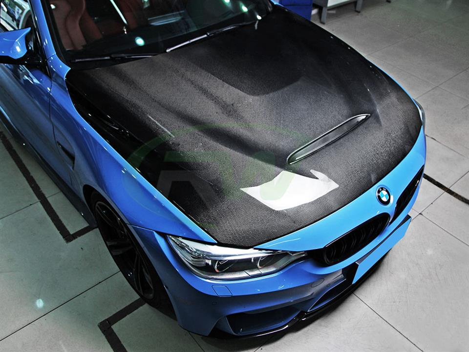 Yas Marina Blue BMW F82 M4 with an RW Carbon Fiber GTS Style Hood