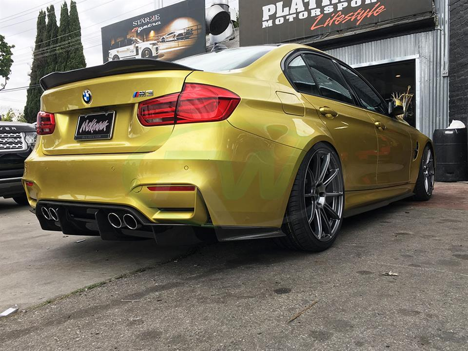 Auston Yellow BMW F80 M3 with a GTX Carbon Fiber Diffuser