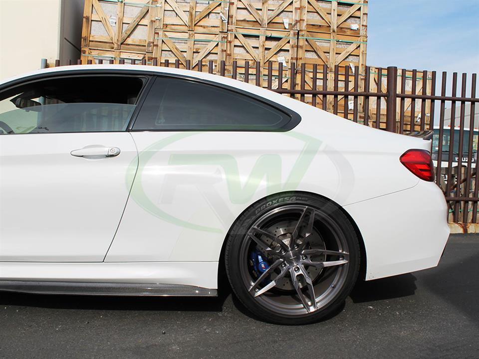 Alpine White BMW F82 M4 with RW GTX Carbon Fiber Side Skirt Extensions