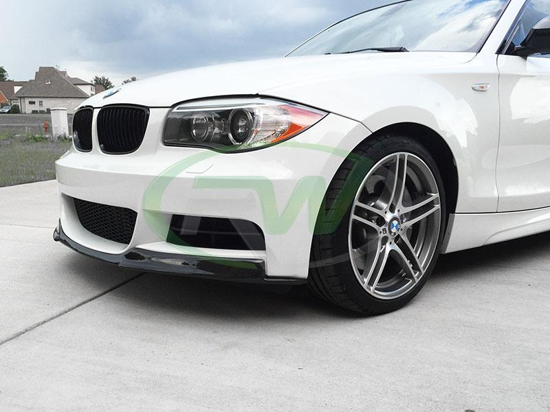 BMW E82 135i in white with an RW Carbon Fiber Front Lip Spoiler