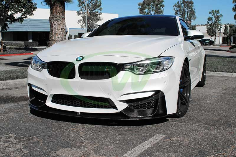 BMW F82 M4 in white with our M Performance Style CF Lip Spoiler