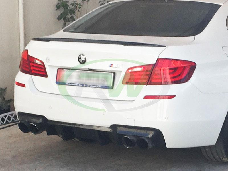 BMW F10 M5 with our Performance Style Vacuum Formed Carbon Fiber Trunk Spoiler