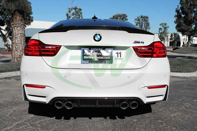 BMW F82 M4 in white with our M Performance Style CF Trunk Spoiler