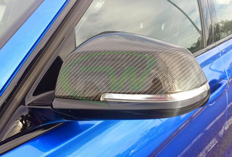 BMW F30 Carbon Fiber Mirror Replacements in Blue