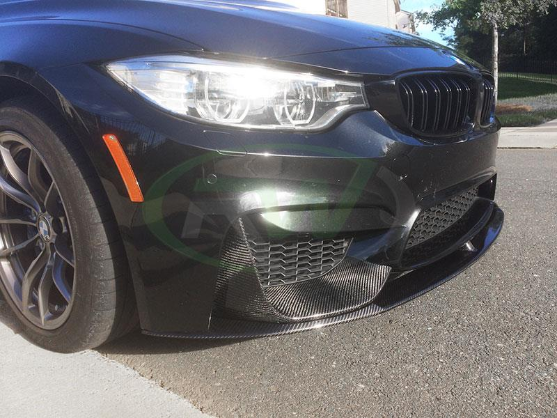 A BMW F82 M4 with an RW Performance Style Carbon Fiber Front Lip Spoiler