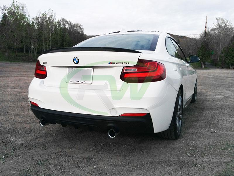 BMW F22 M235 in alpine white with an RW Performance Style CF Trunk Spoiler