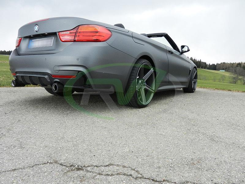 performance style carbon fiber rear diffuser installed on bmw f33 435i - RW carbon