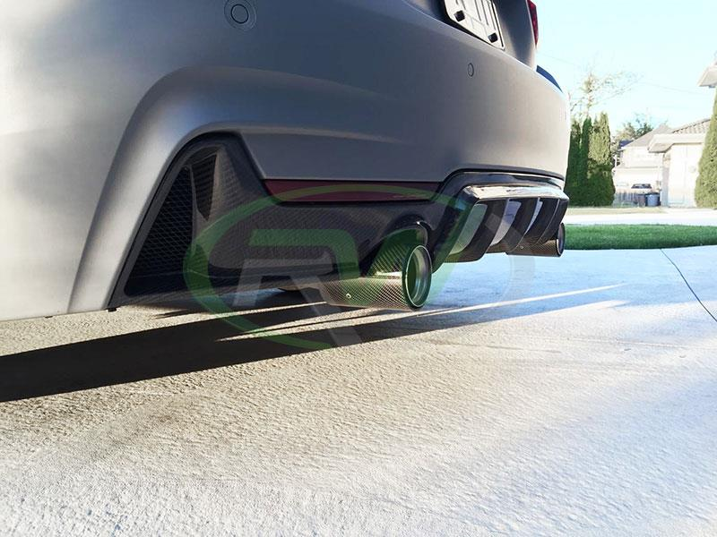BMW F32 435i in battelship grey Performance Style Carbon Fiber Diffuser