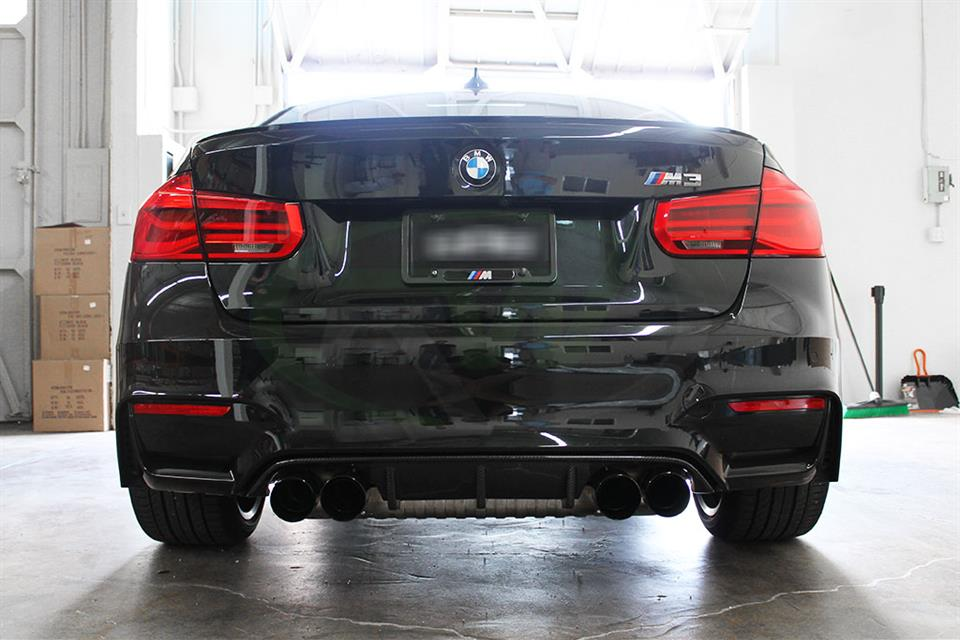 Black BMW F82 M4 with an RW Carbon Fiber Performance Style Diffuser