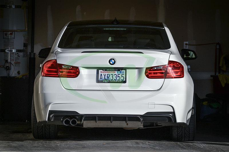 BMW F30 328i with an RW Carbon Performance Style Carbon Fiber Diffuser