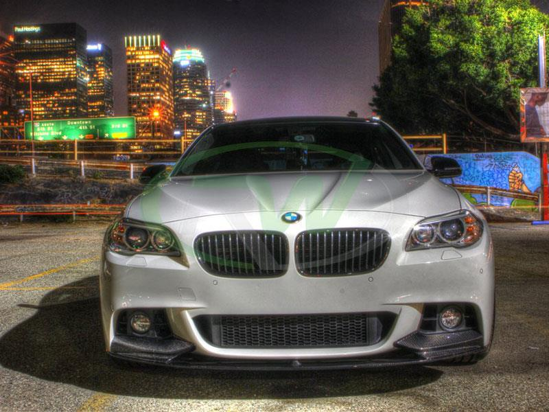 BMW F10 in White with an RW Performance Style CF Front Lip Spoiler