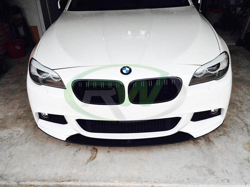 BMW F10 5 series in white with an RW Performance Style CF Lip Spoiler