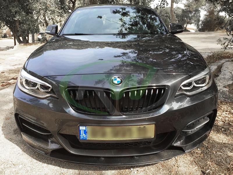Grey BMW F22 M235i from Israel with an RW Performance Style Carbon Fiber Front Lip
