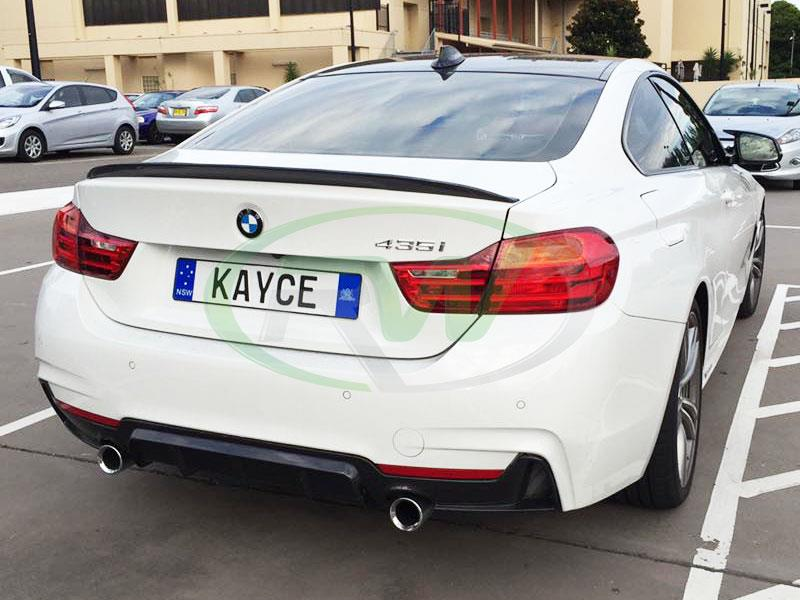 BMW F32 435i in white with a Performance Style Carbon Fiber Diffuser