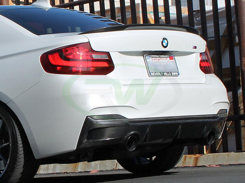 BMW F22 M235i in Alpine White with an RW Performance Style CF Trunk Spoiler